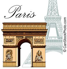 coloreado, eiffel, vector, torre, arco triunfal