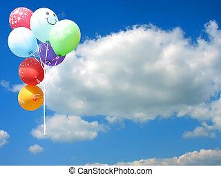 coloreado, fiesta, globos, contra, cielo azul, y, vacío,...
