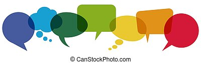 coloreado, fila, discurso, burbujas