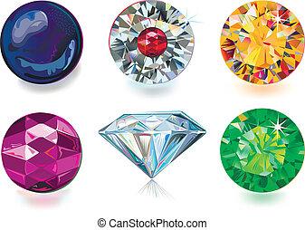coloreado, gemas
