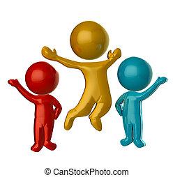 coloreado, gente, d, 3, logotipo, feliz
