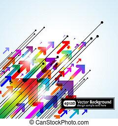 coloreado, gradiente, resumen, plano de fondo, flechas