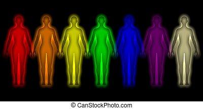 coloreado, humano, aura, -, energía, cuerpo