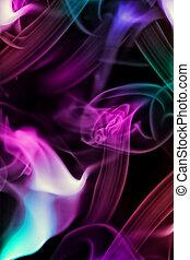 coloreado, humo, en, negro