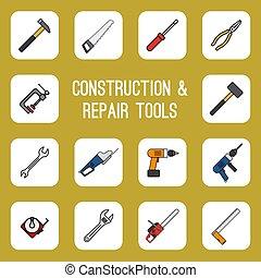 coloreado, iconos, diy, hogar, línea, herramientas