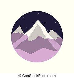 coloreado, ilustración, de, paisaje de invierno, con, montaña cubierta de nieve, picos, y, noche, estrellado, sky., plano, round-shaped, emblem., viaje, o, aventura, concept., caricatura, vector, diseño