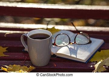 coloreado, incrustados, hojas, parque, él, banco, otoño, mentiras, libro