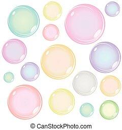 coloreado, jabón burbujea