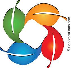 coloreado, leafs, logotipo, vector