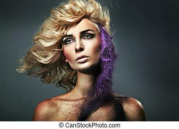 coloreado, manchas, belleza, joven, arena, rubio