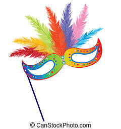 coloreado, mardi, pasto o césped, máscara, con, plumas