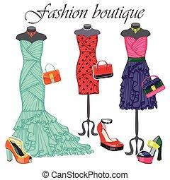 coloreado, moda, accessories., ilustración, tres, vestidos