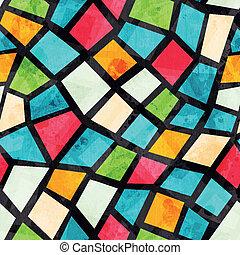 coloreado, mosaico, seamless, patrón, con, grunge, efecto