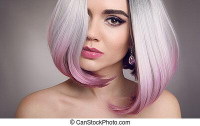 coloreado, ombre, mover, pelo, extensions., belleza, rubio, modelo, niña, con, cortocircuito, rosa, peinado, aislado, en, gris, fondo., mujer del primer, portrait.