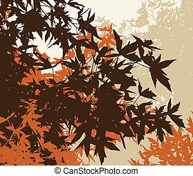 coloreado, paisaje, de, automn, marrón, follaje, -, vector, illustrationthe, diferente, gráficos, ser, en, separado, capas, tan, ellos, lata, fácilmente, ser, movido, o, edited, individually