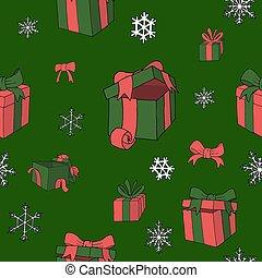 coloreado, patrón, regalos, vector, navidad, papper
