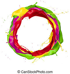 coloreado, pinturas, aislado, salpicaduras, plano de fondo, ...