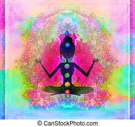 coloreado, points., padmasana, pose., chakra, yoga, loto