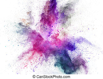 coloreado, polvo, explosión, blanco, fondo.