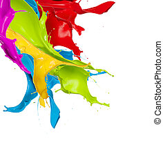 coloreado, resumen, aislado, forma, salpicaduras, plano de fondo, blanco