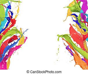 coloreado, salpicaduras, en, forma abstracta, aislado,...