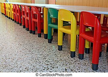 coloreado, sillas, plástico, guardería infantil, refectorio...