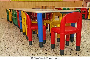 coloreado, sillas, plástico, refectorio, tabla, niños, ...