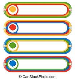 coloreado, texto, cuatro, discurso, marcos, burbuja, ...