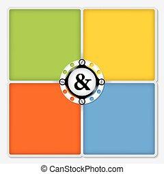 coloreado, texto, cuatro, signo &, marcos, blanco