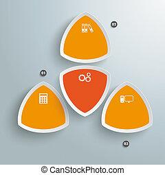 coloreado, triángulos, infographic, 4, naranja, redondo,...