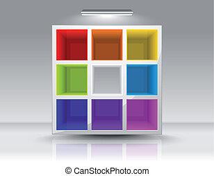 coloreado, vacío, estantes