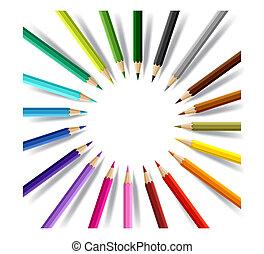 coloreado, vector, pencils., plano de fondo, conceptual, ...