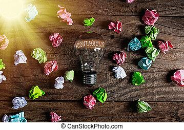 coloreado, vendimia, contagious., contacto, conceptual, solution., transmissible, luz, escritura, directo, individuo, o, foto, infected, showcasing, idea, señal, mano, bombillas, indirecto, realista, actuación, empresa / negocio