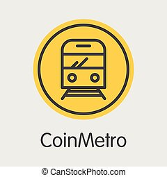 coloreado, xcm., vector, coin., digital, logotipo, coinmetro
