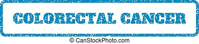 Blue rubber seal stamp with Colorectal Cancer text. Vector caption inside rounded rectangular frame. Grunge design and unclean texture for watermark labels. Horizontal emblem on a white background.