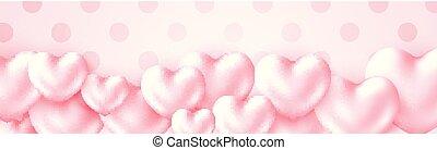 colored., 心, パステル, ポスター, バレンタイン, 挨拶, ホリデー, metall, ピンク, バックグラウンド。, テキスト, 幸せ, 光沢がある, 柔らかい, 日, 3d