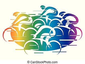 colored., 虹, 自転車レース, 道