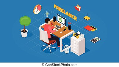 Colored 3d isometric freelance designer workplace vector concept illustration.