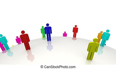 Colored 3d men standing on a moving globe against a white background