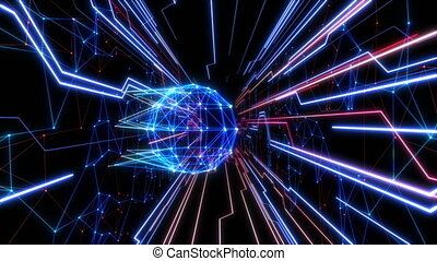 Colored Abstract Network Grid Sphere Hologram in Cyberspace with Net Connections and Running Lines on Black. Loop-able 3d Animation. Digital Futuristic Technology Concept. 4k Ultra HD 3840x2160.