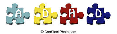 ADHD Puzzle pieces - Colored ADHD Puzzle pieces with...