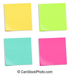 4 colored adhesive note papers, yellow, green, turquoise and pink