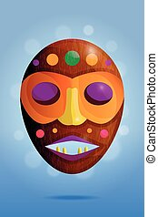 Colored african wooden mask on blue background