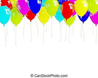 Colored air balloons isolated on white