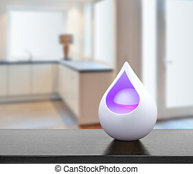 Colored air freshener in glass container in modern kitchen -...