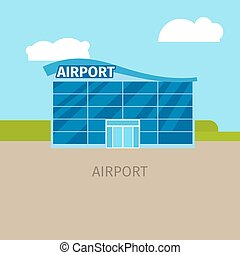 Colored airport building illustration
