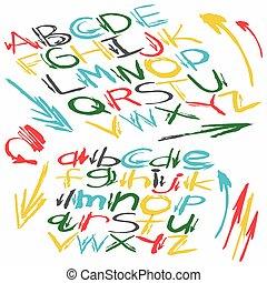 colored alphabet font in graffiti style