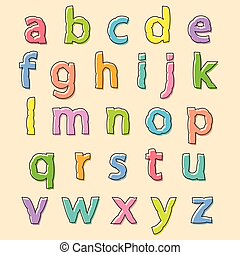Colored alphabet letters with bloated outline