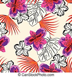colored and black and white floral pattern