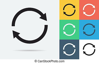 Colored and monochrome two rounded arrows icon